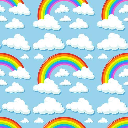 Sfondo senza soluzione di continuità con nuvole e arcobaleni