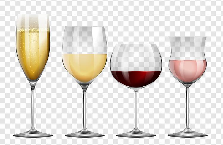 Vier verschillende soorten wijnglazen