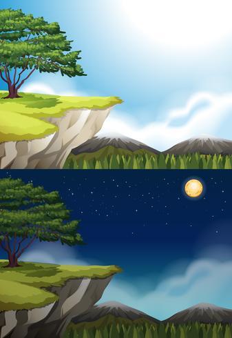 Escena de la naturaleza del acantilado en la noche y el día. vector