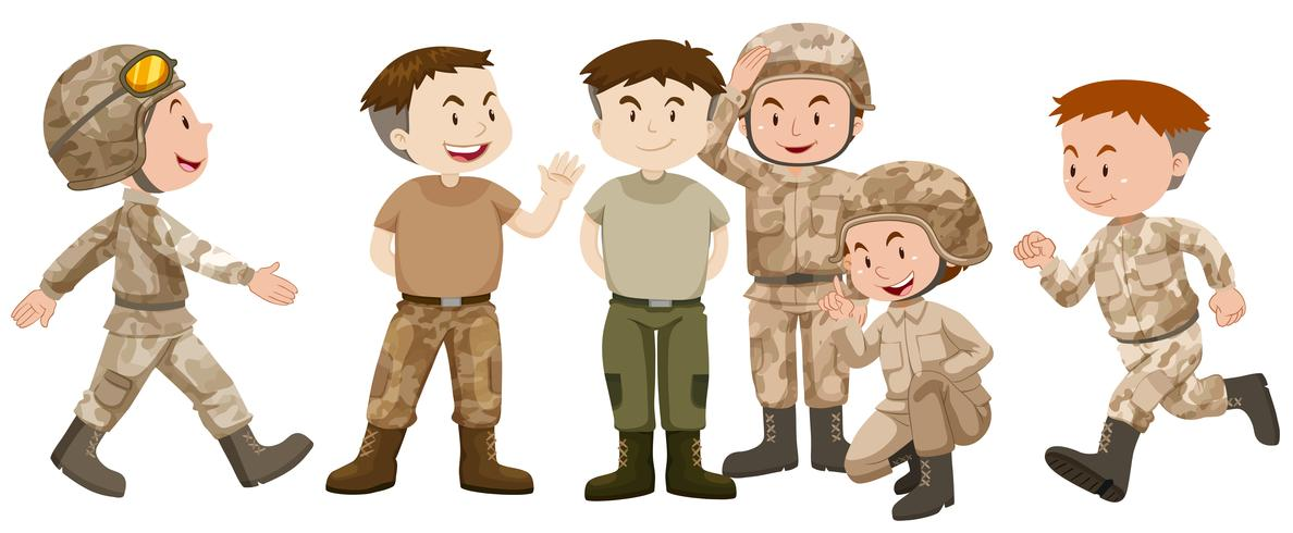 Soldaten in brauner Uniform vektor