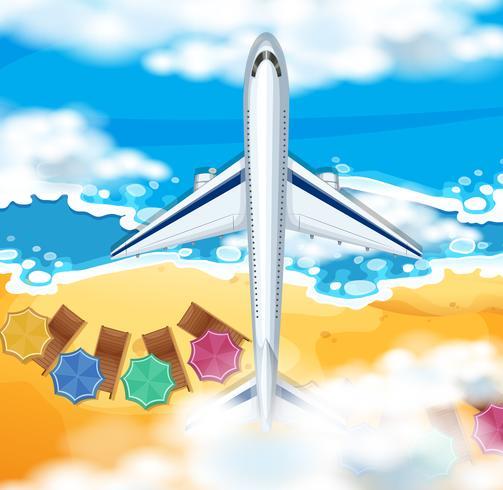 Scène met vliegtuig dat over de oceaan vliegt