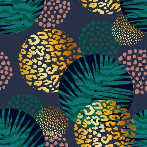 Modelo exótico sin costura con estampados de palmeras y animales. vector