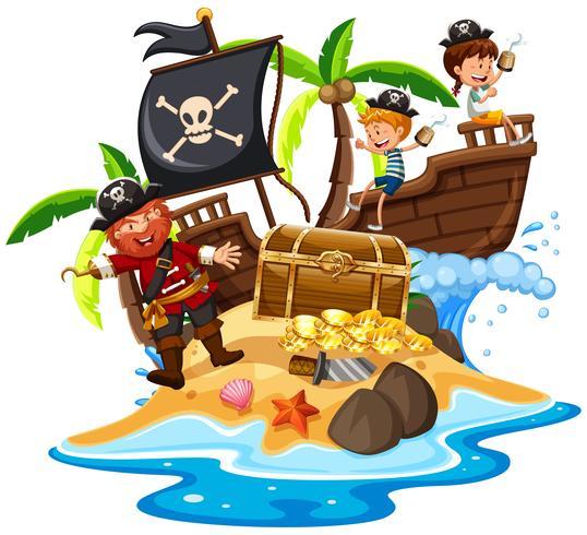 Pirata e crianças felizes na ilha