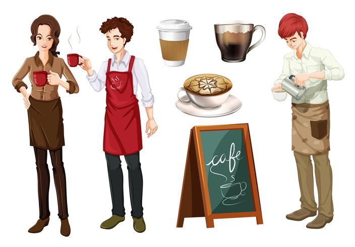 Sats av människor som arbetar på café