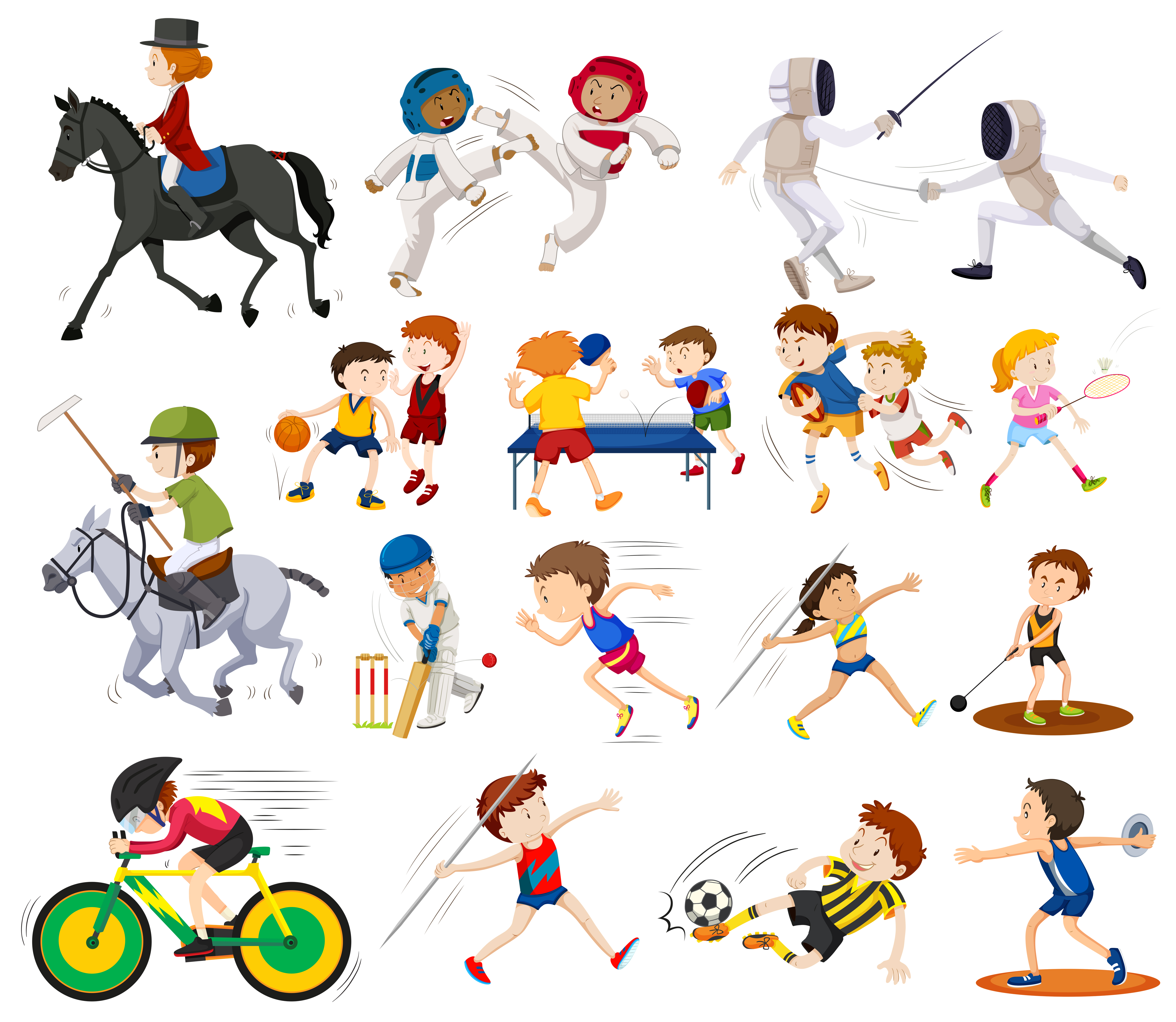 sports different kinds doing vector illustration activities clipart shutterstock graphics