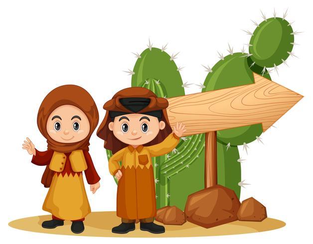 Modello di cartello in legno con i bambini in abiti arabi