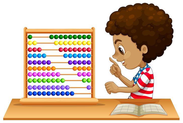 Ett afrikanskt barn lär sig abacus