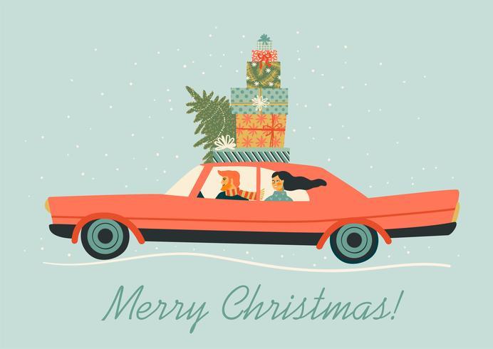 Kerstmis en gelukkig Nieuwjaar illustratie met rode auto. Trendy retro-stijl.