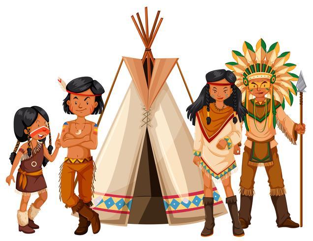 Indios nativos americanos de pie junto al tipi