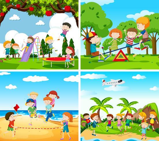 Set Szene der spielenden Kinder