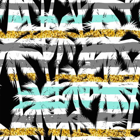 Modèle exotique sans couture avec des silhouettes de feuilles de palmier.