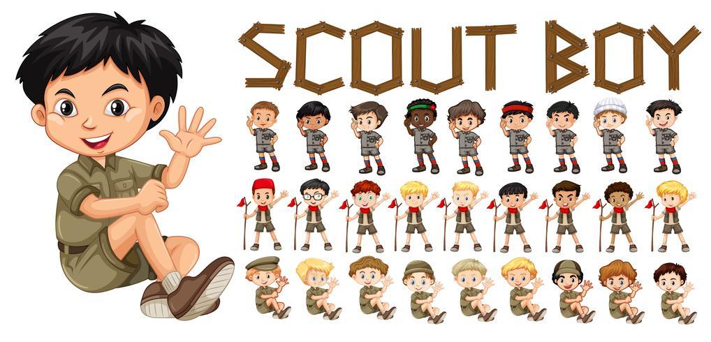Um, jogo, de, scout, menino, personagem