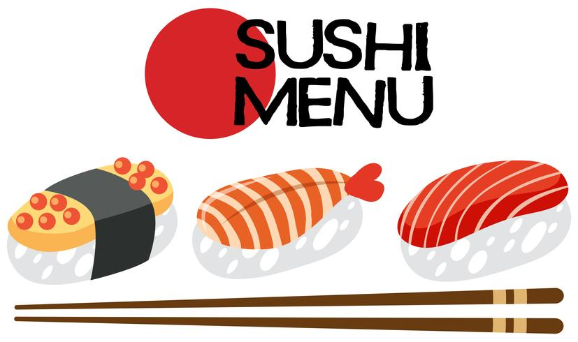 A Japanese Sushi Menu Set vector