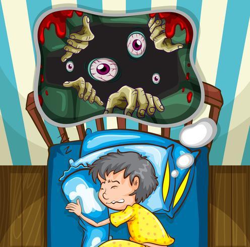 Jongen in bed met nachtmerrie