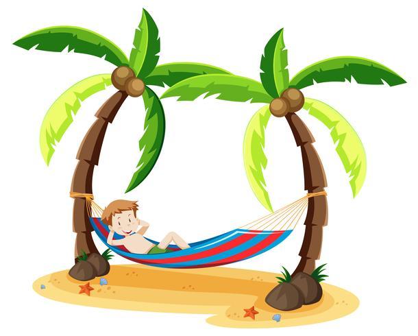 Un niño enfriándose bajo el árbol de coco