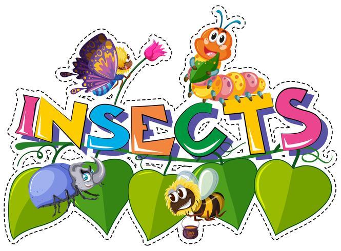 Palabra insectos con diferentes insectos en hojas
