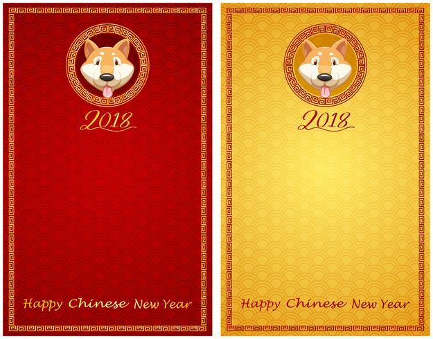 Plantilla de dos tarjetas para newyear chino