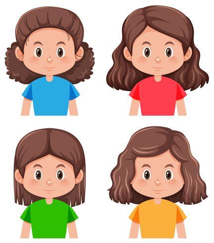 Set av brunett hår karaktär