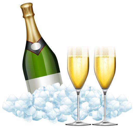 Twee glazen champagne en fles in ijs