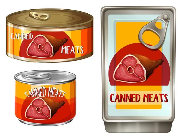 Carnes em três latas diferentes