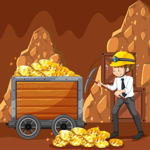 Um trabalhador de escritório Mining Cyber Coin