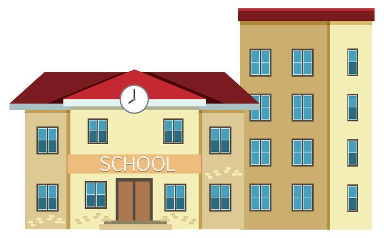 Een school die op witte achtergrond voortbouwt