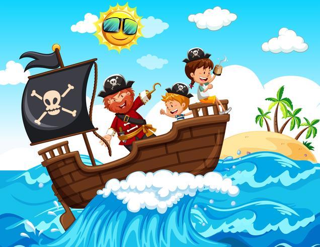 Un pirate et des enfants heureux sur un bateau