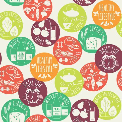 Hälsosam livsstil sömlös bakgrund.