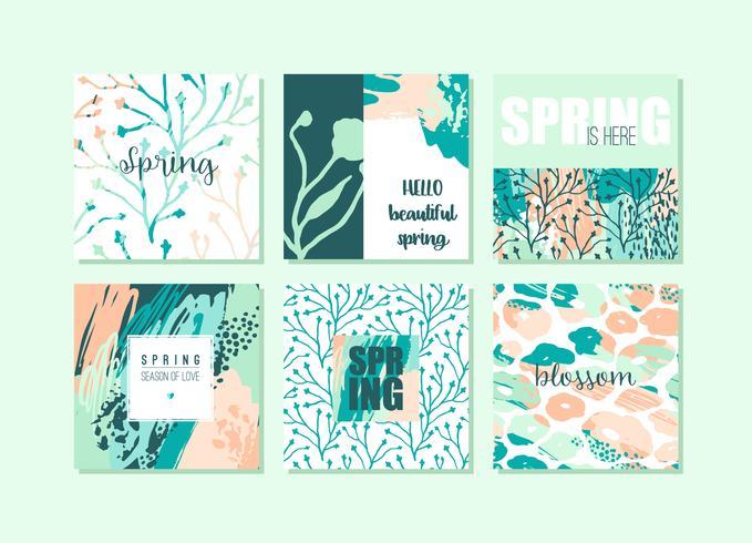 Conjunto de tarjetas de primavera creativas abstractas. Colores frescos