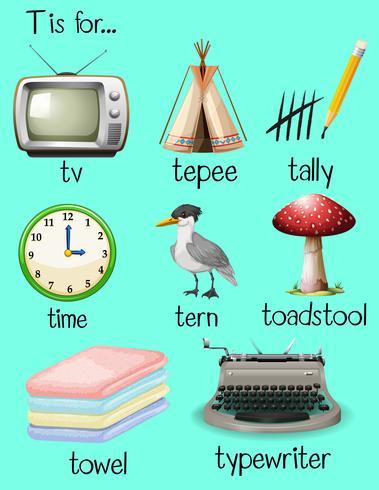 Beaucoup de mots commencent par la lettre T