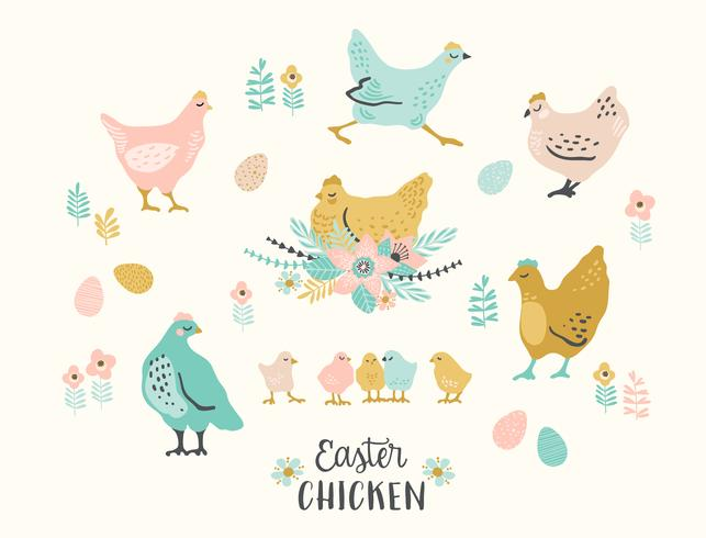 Happy Easter. Vector set of easter chicken for card, poster, flyer and other users.