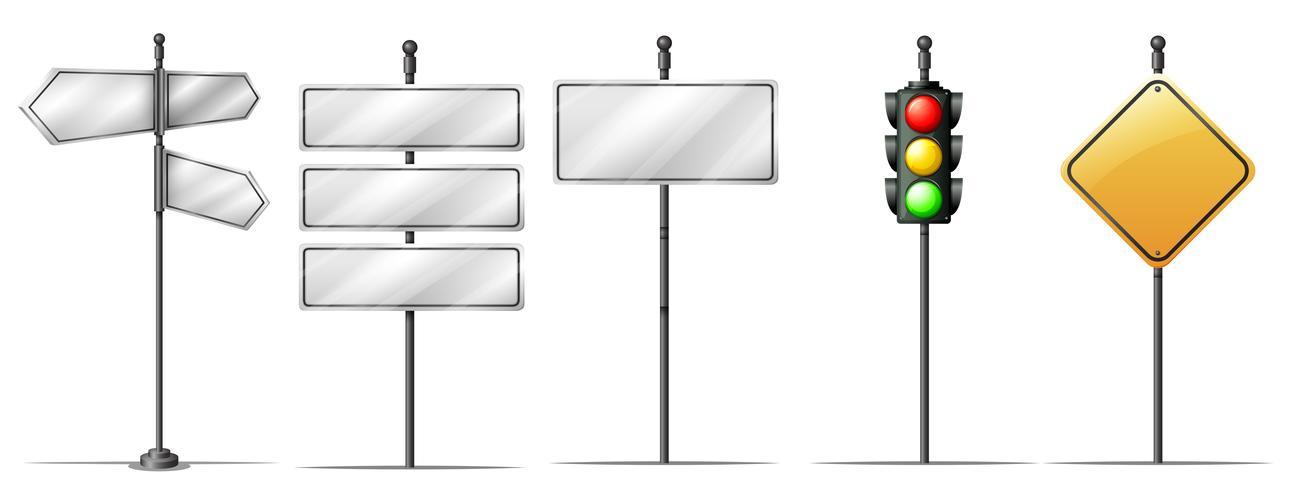 Conjunto de placa de direção de tráfego