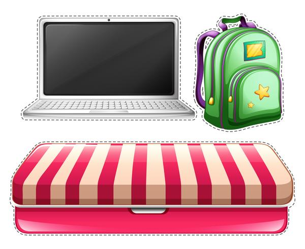 Sticker set of computer and backpack