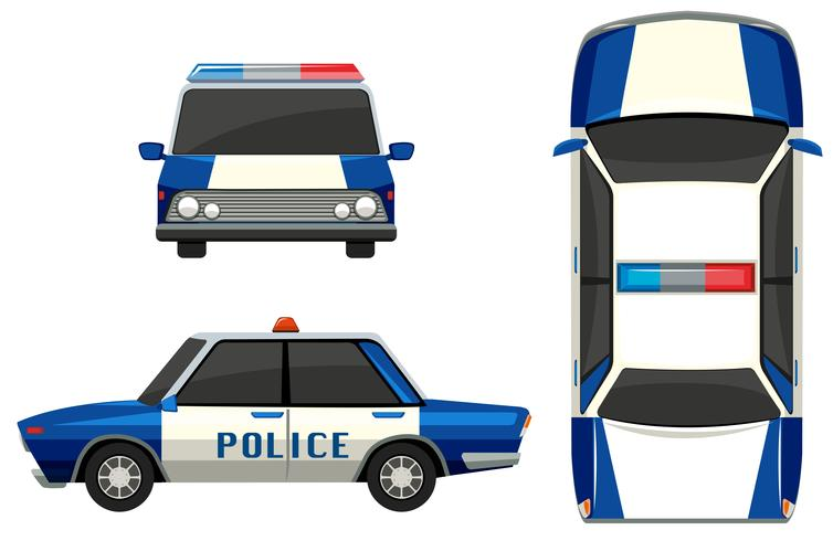 Macchina della polizia in tre diverse angolazioni