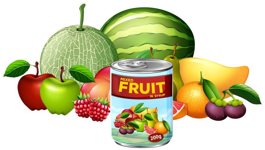 Een blik met gemengd fruit en vers fruit