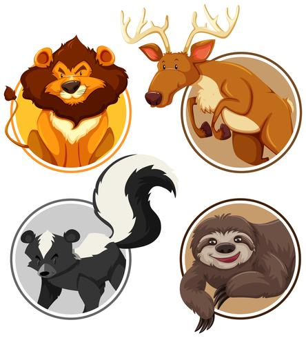 Set of wild animals on circle template