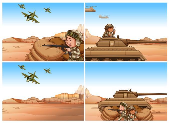 Sats av armé och krigsscener