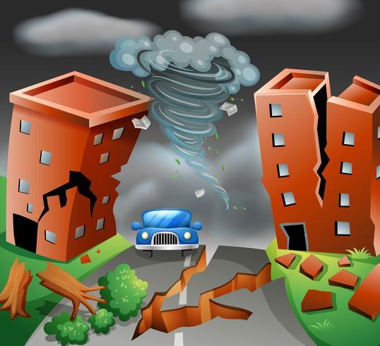 Tornado diaster stad scène
