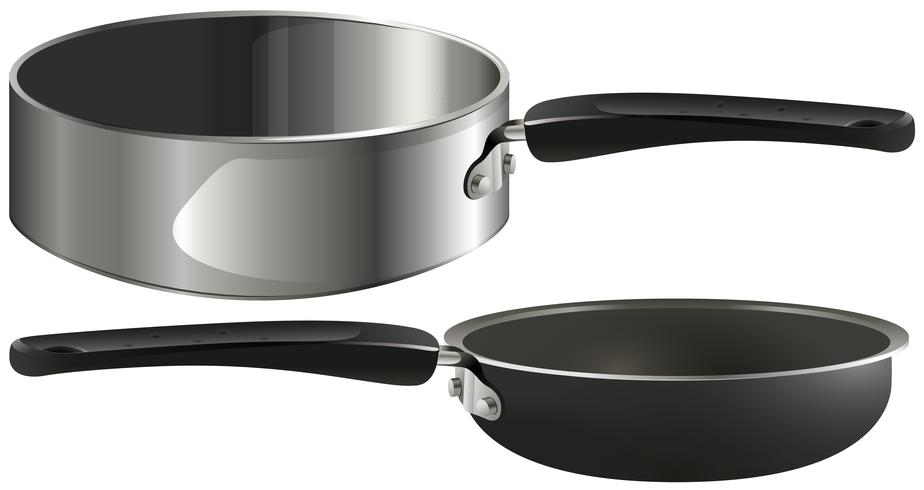 Two frying pans on white background
