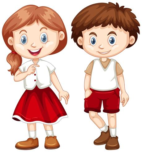 Boy and girl in red and white costume