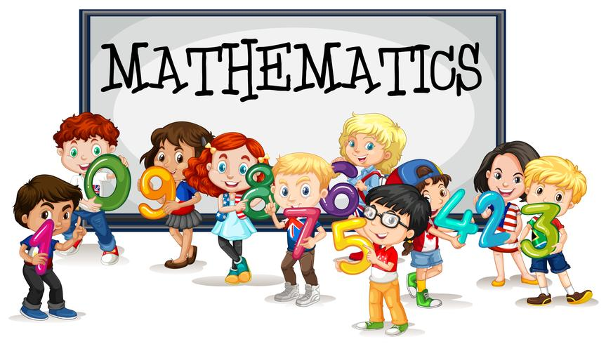 kids with numbers and mathematics sign