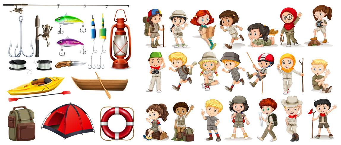 Children and camping equipment