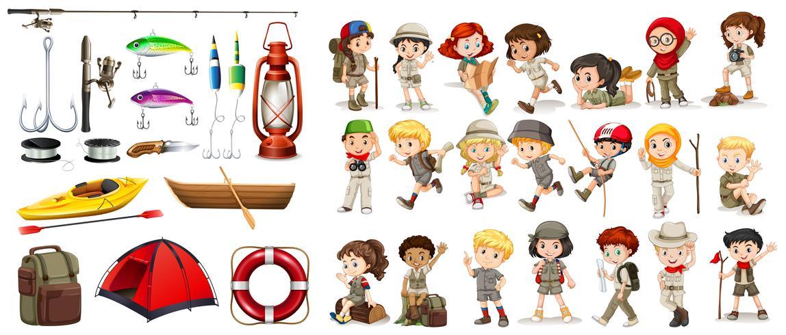 Enfants et matériel de camping