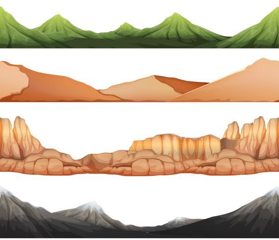 Naadloze achtergrond met verschillende meningen van bergen