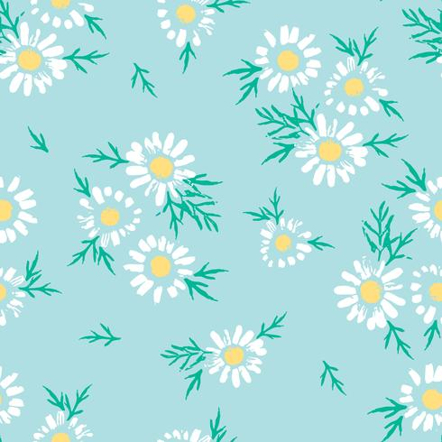 Astratto motivo floreale senza soluzione di continuità con la camomilla. Trame disegnate a mano alla moda vettore