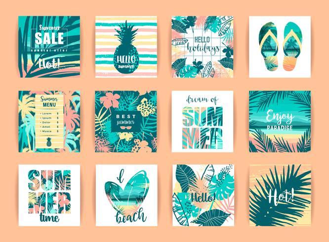 Set tropische Designs des Sommers. Vektor-Vorlagen