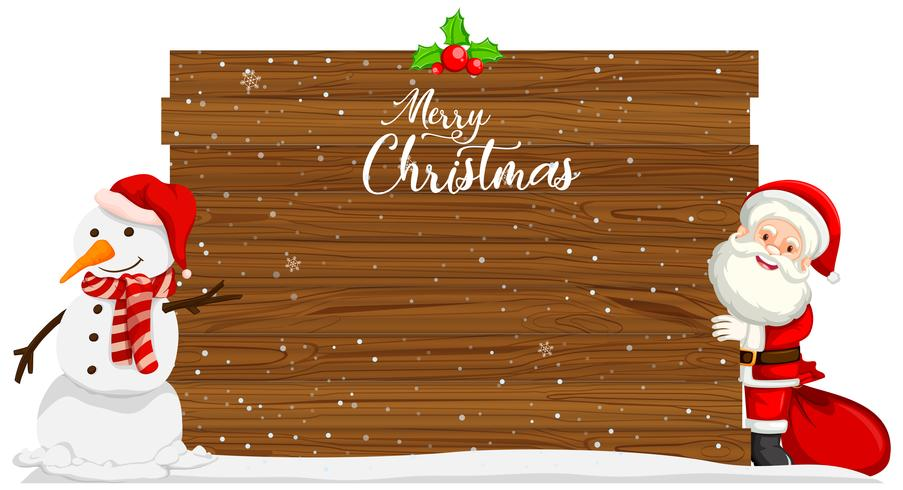 Merry christmas wood template vector