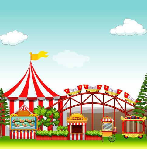 Shops and rides at the amusement park