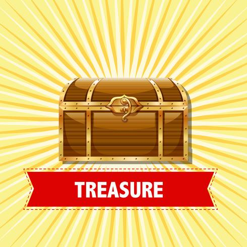 Treasure chest on yellow background