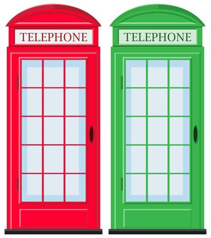Telephone booths in red and green